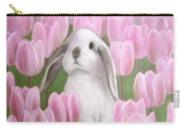 Bunny With Tulips Carry-all Pouch