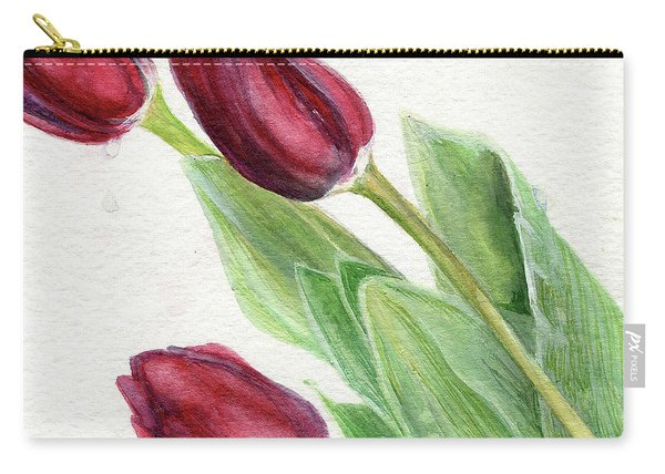 Burgundy Tulips Carry-all Pouch