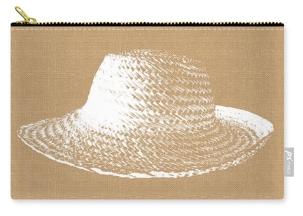 Burlap And White Sun Hat- Art By Linda Woods Carry-all Pouch