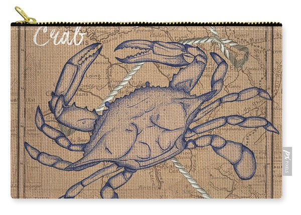 Burlap Blue Crab Carry-all Pouch