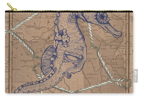 Burlap Seahorse Carry-all Pouch