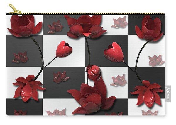 Burnt Crimson Flora Carry-all Pouch