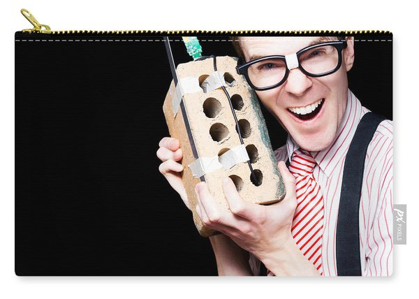 Business Geek Laughing On House Brick Phone Carry-all Pouch