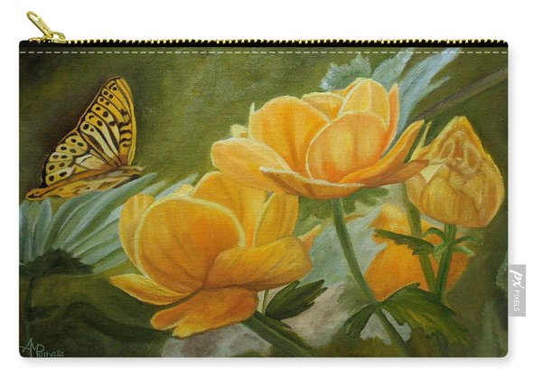 Carry-all Pouch featuring the painting Butterfly Among Yellow Flowers by Angeles M Pomata