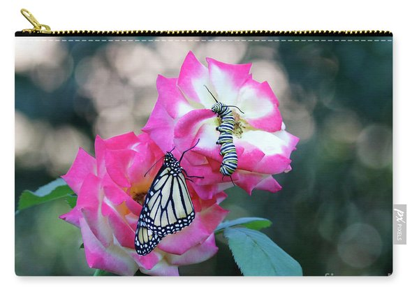 Butterfly Caterpillar And Pink Roses Photo Carry-all Pouch
