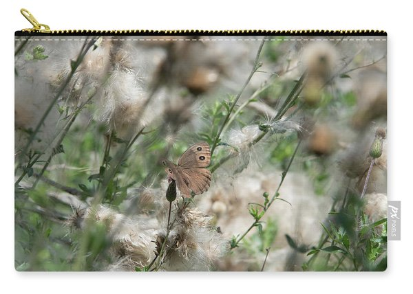 Butterfly In Puffy Seed Heads Carry-all Pouch
