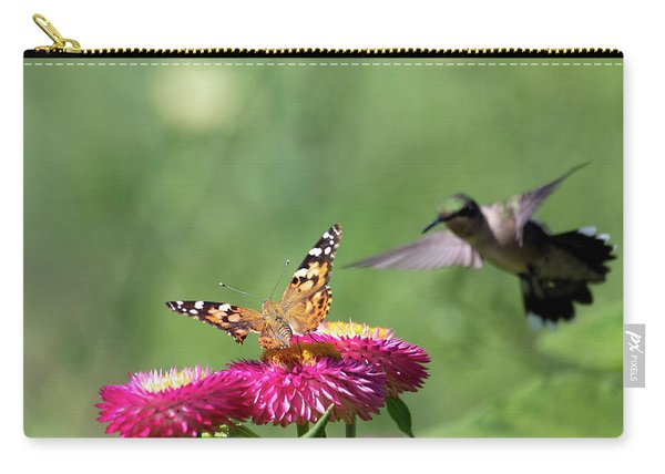 Carry-all Pouch featuring the photograph Butterfly Vs Hummingbird 1 by Brian Hale