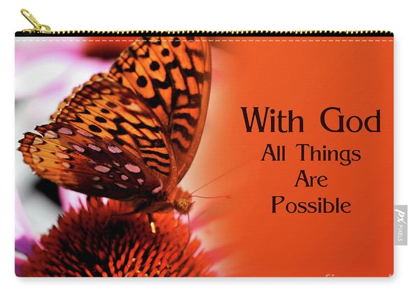 Butterfly With God Inspirational Carry-all Pouch