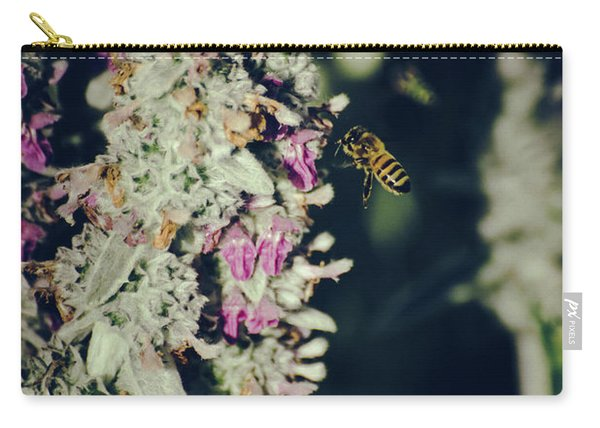 Carry-all Pouch featuring the photograph Buzzing In My Lamb's Ear by Jason Coward