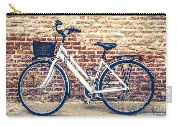 Bycicle Urban Canvas Red Brick Wall Prints Carry-all Pouch