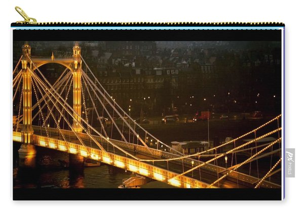 Cable-stayed Gold Sparkle Bridge At Night In London Carry-all Pouch
