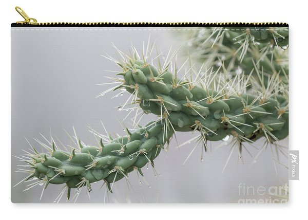 Cactus Branch With Wet White Long Needles Carry-all Pouch