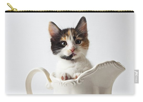 Calico Kitten In White Pitcher Carry-all Pouch