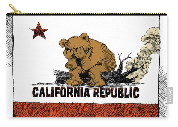 California Fire Bear Grieves Carry-all Pouch