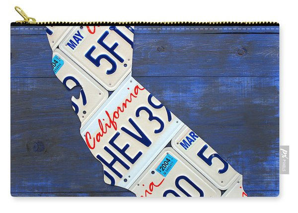 California License Plate Map On Blue Carry-all Pouch