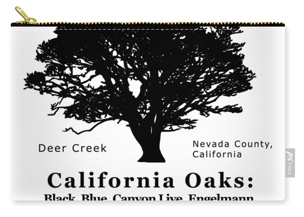 California Oak Trees - Black Text Carry-all Pouch