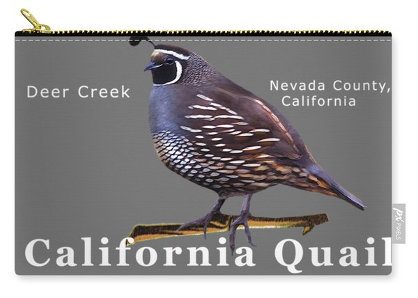 California Quail - Color Bird - White Text Carry-all Pouch