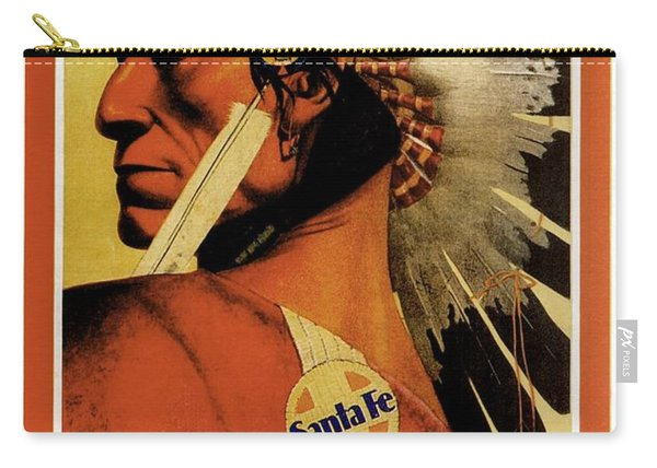 California - Southern Arizona - Red Indian - Native American - Santa Fe - Vintage Advertising Poster Carry-all Pouch