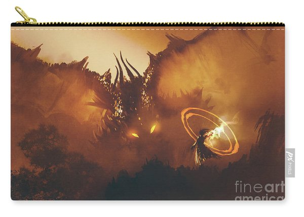 Carry-all Pouch featuring the painting Calling Of The Dragon by Tithi Luadthong