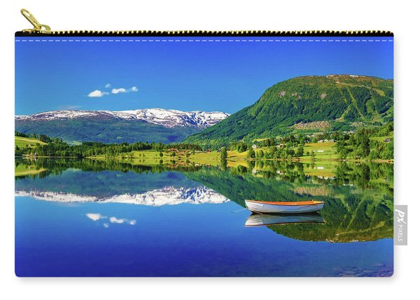 Carry-all Pouch featuring the photograph Calm Morning On Lonavatnet by Dmytro Korol