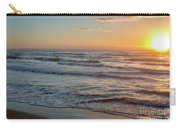 Calm Water Over Wet Sand During Sunrise Carry-all Pouch