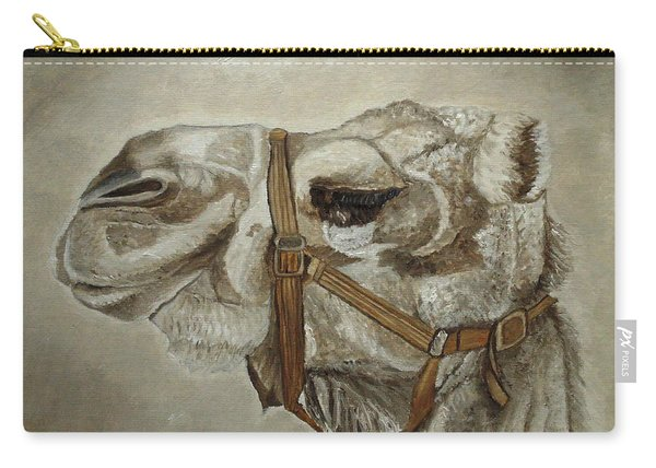 Carry-all Pouch featuring the painting Camel Portrait by Angeles M Pomata