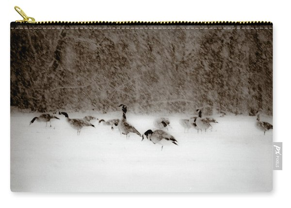 Canada Geese Feeding In Winter Carry-all Pouch