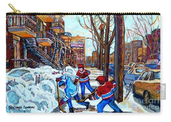 Canadian Art Street Hockey Game Verdun Montreal Memories Winter City Scene Paintings Carole Spandau Carry-all Pouch