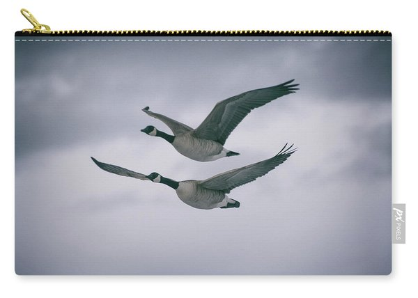 Carry-all Pouch featuring the photograph Canadian Geese In Flight by Jason Coward