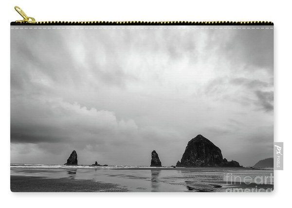 Cannon Beach In Black And White Carry-all Pouch