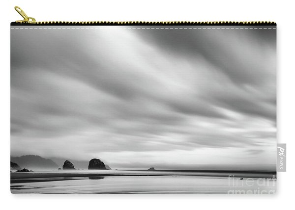 Cannon Beach Long Exposure Sunrise In Black And White Carry-all Pouch