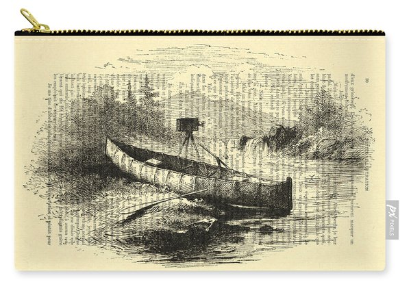 Canoe With Field Camera In Black And White Antique Illustration Carry-all Pouch