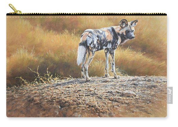 Carry-all Pouch featuring the painting Cape Hunting Dog by Alan M Hunt