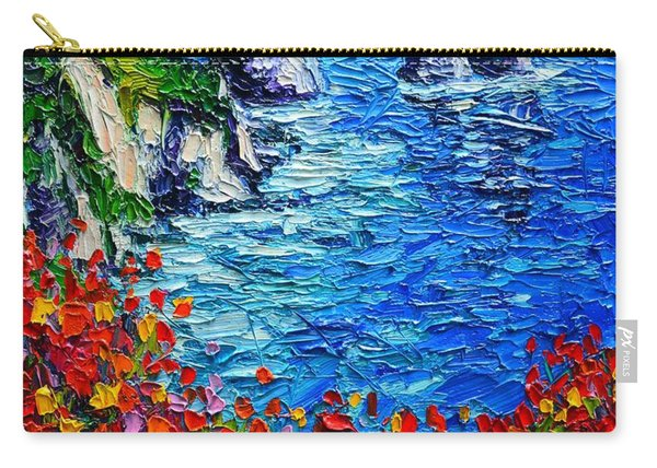 Capri Faraglioni 2 Italy Colors Modern Impressionist Palette Knife Oil Painting Ana Maria Edulescu  Carry-all Pouch