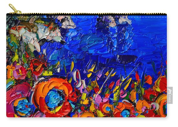 Capri Faraglioni Italy Colors Modern Impressionist Palette Knife Oil Painting By Ana Maria Edulescu  Carry-all Pouch