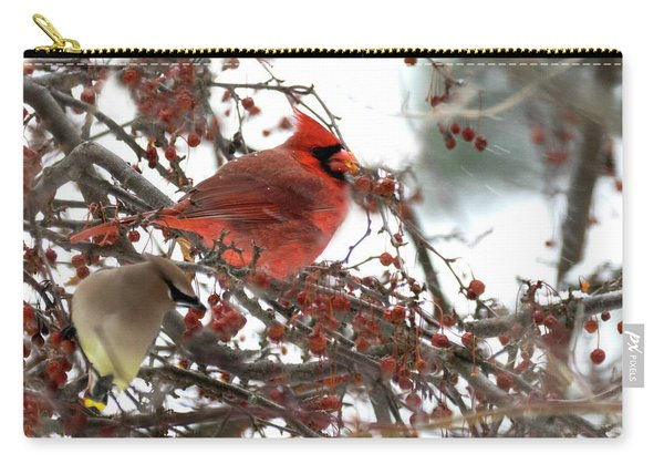 Cardinal And Cedar Wax Wing Feeding On Crab Apples Carry-all Pouch