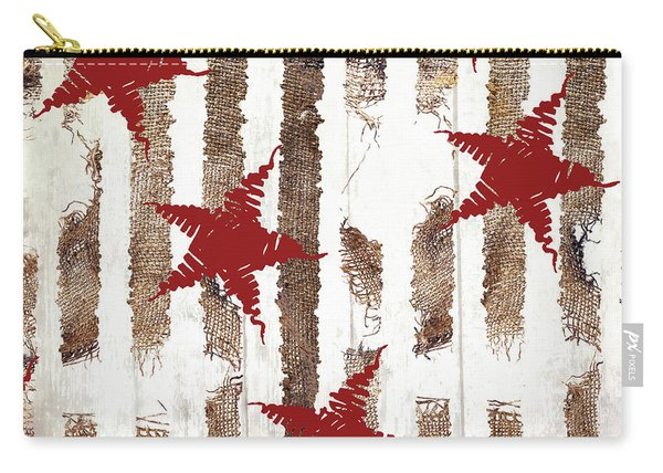 Cardinal Holiday Burlap Star Pattern Carry-all Pouch