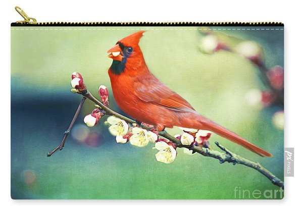 Cardinal On Apricot Branch Carry-all Pouch