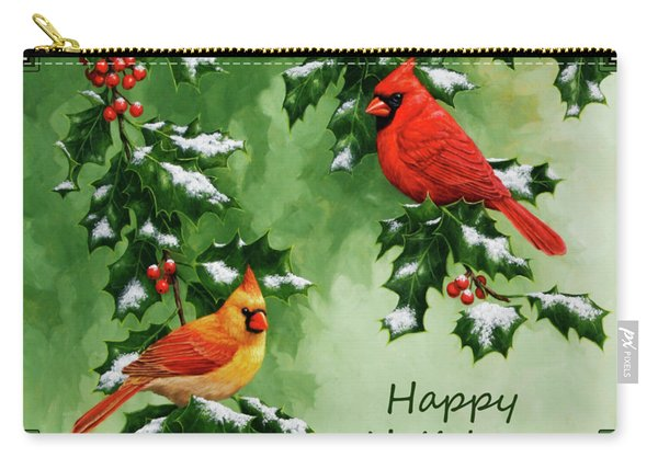 Cardinals Holiday Card - Version With Snow Carry-all Pouch