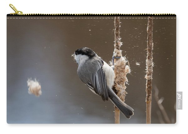 Carolina Chickadee Feeding On Cattail Carry-all Pouch