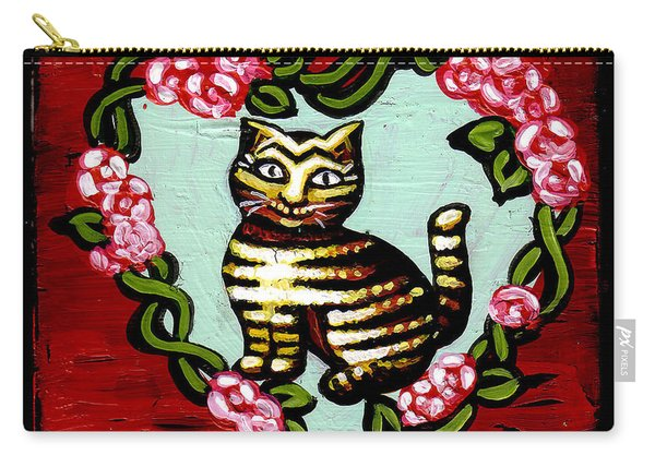 Cat In Heart Wreath 2 Carry-all Pouch