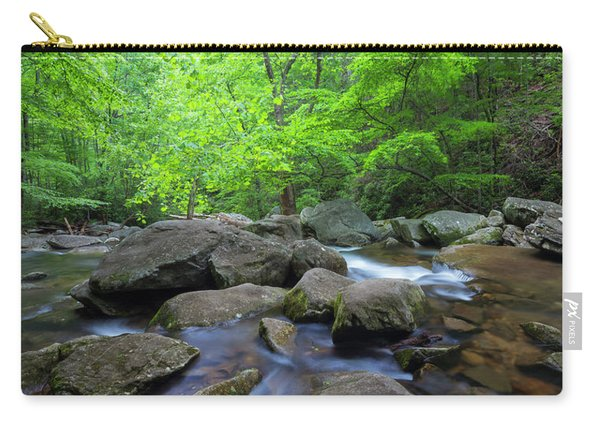 Carry-all Pouch featuring the photograph Catawba Stream And Rocks Panorama by Ranjay Mitra