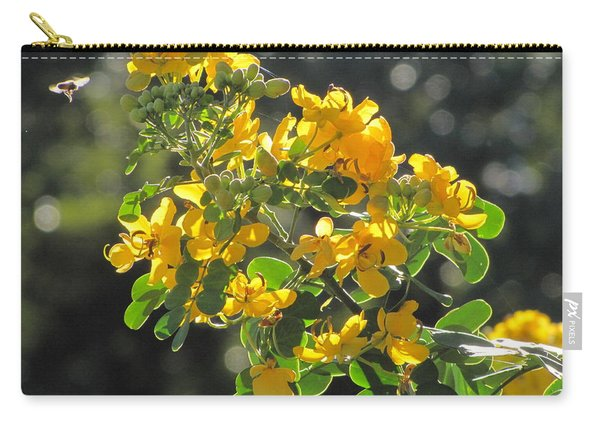 Catchlight Bee Over Yellow Blooms Carry-all Pouch