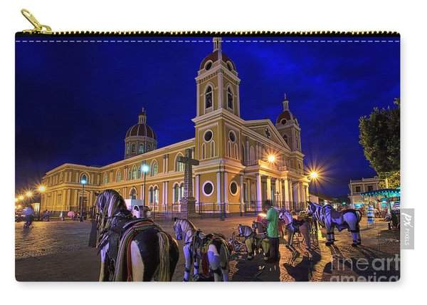 Carry-all Pouch featuring the photograph Cathedral Of Granada Shines Brightly by Sam Antonio Photography