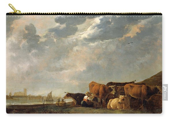 Cattle Near The Maas, With Dordrecht In The Distance Carry-all Pouch