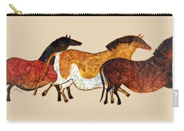 Cave Horses In Beige Carry-all Pouch