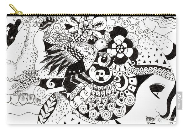 Carry-all Pouch featuring the drawing Ceilings And Floors 1 by Helena Tiainen
