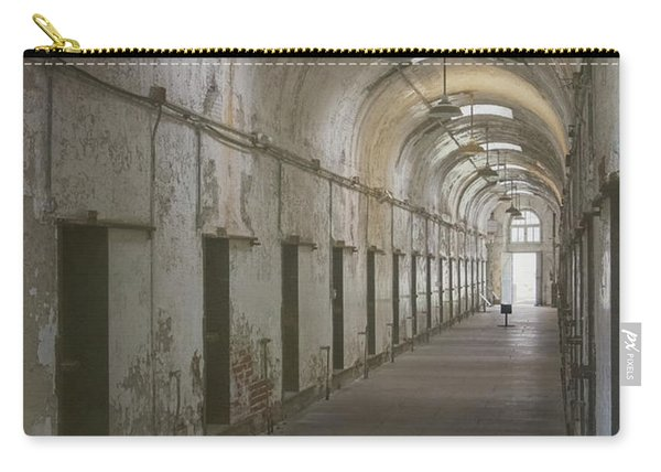 Carry-all Pouch featuring the photograph Cellblock Hallway by Tom Singleton