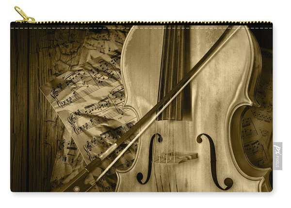 Cello Stringed Instrument With Sheet Music And Bow In Sepia Carry-all Pouch