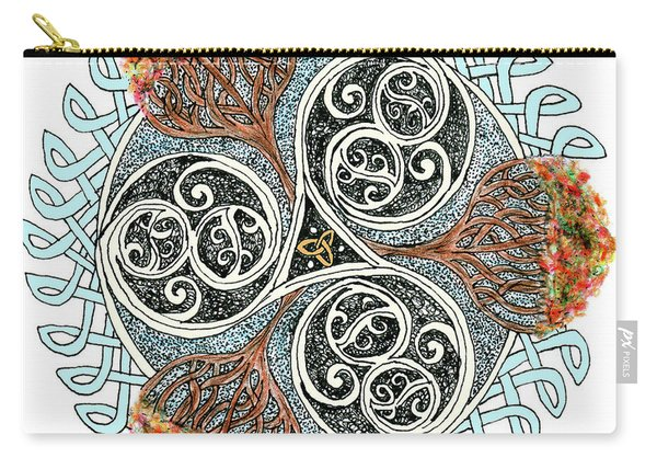 Celtic Knot With Autumn Trees Carry-all Pouch
